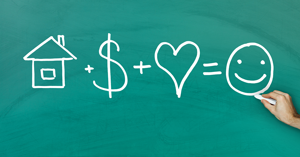 a chalkboard drawing of an equation: house plus money plus heart equals happy