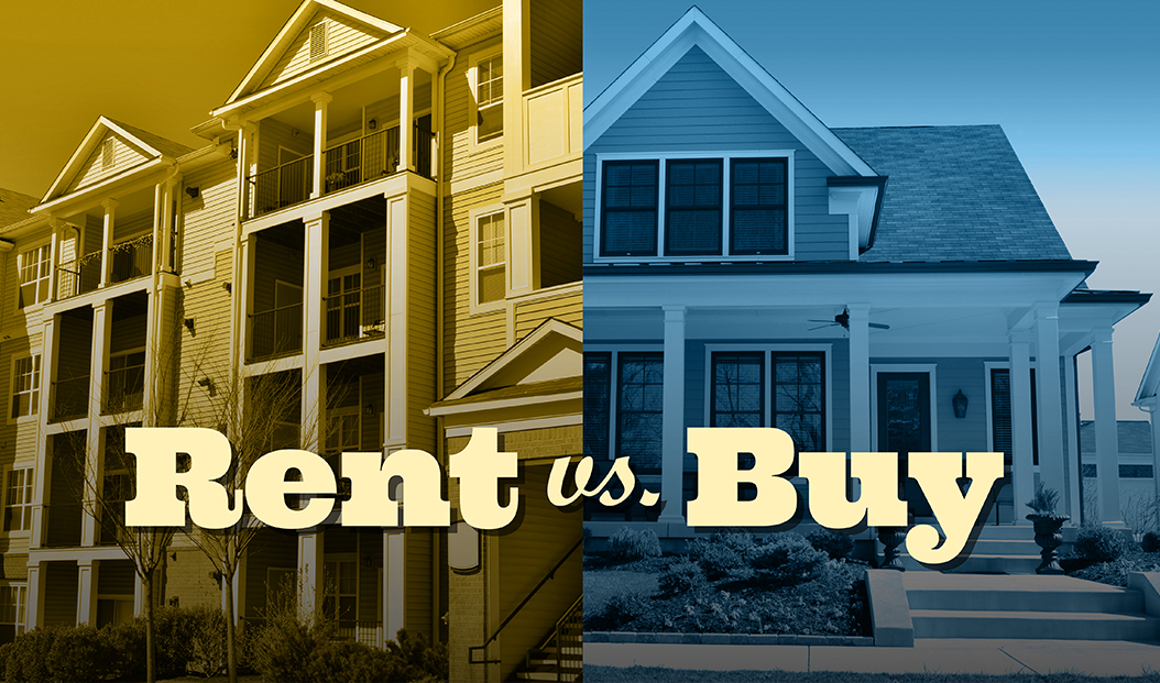 an apartment complex next to a single-story house with the text: rent versus buy?