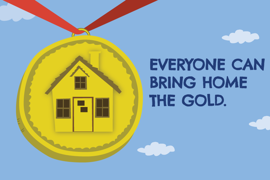 HIP Gold medal with text 'Everyone can bring home the gold""