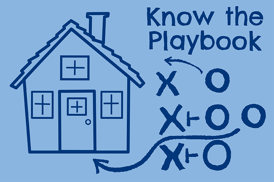"A home with x and o like a football playbook with text ""know the playbook"""