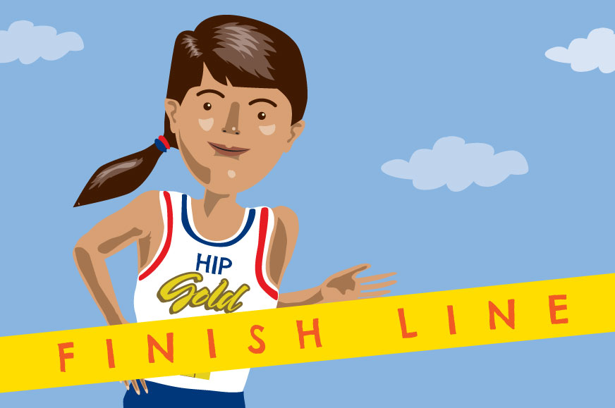 HIP Gold Games cartoon participant running through finish line