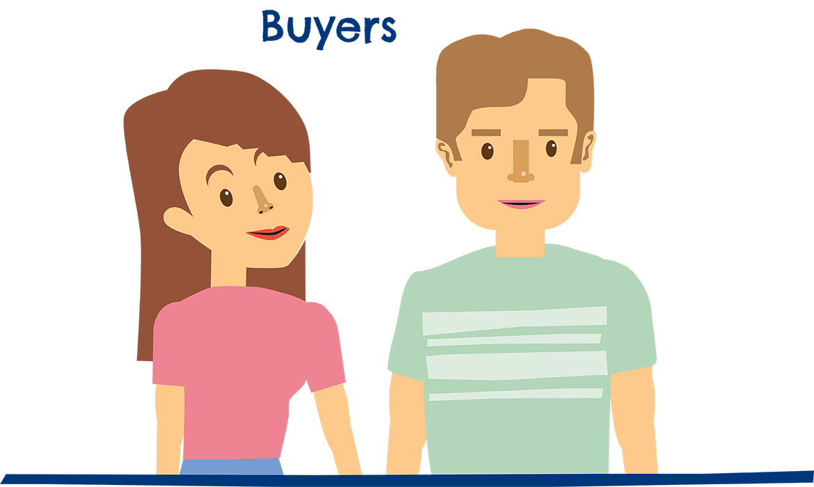 Cartoon man and woman with text overhead that reads Buyers