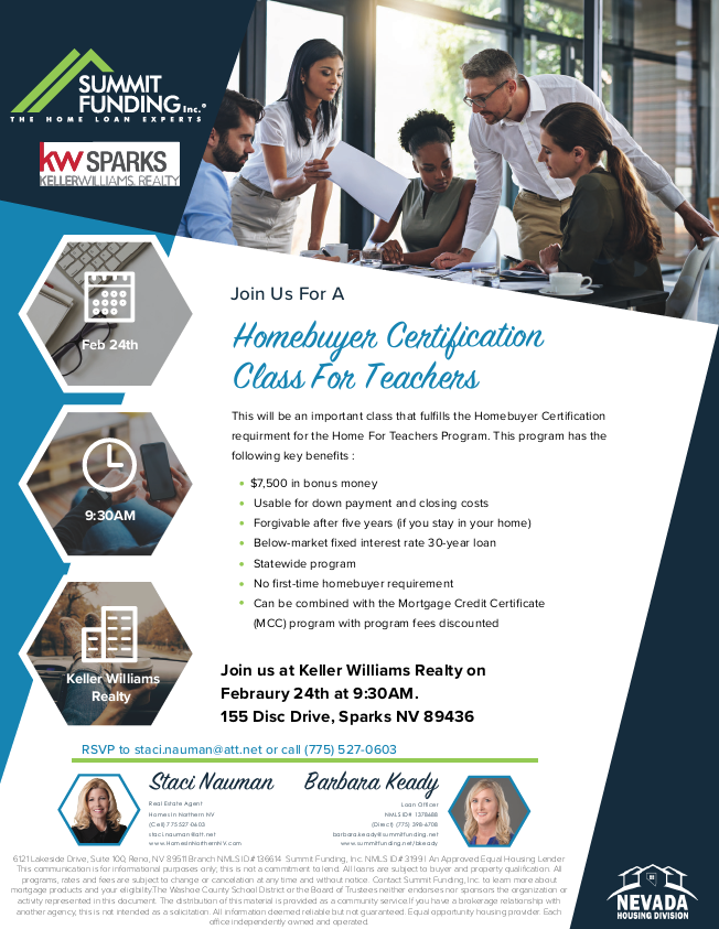 DOWNPAYMENT ASSISTANCE WORKSHOP NEVADA HOUSING DIVISION - First time home buyer flyer template